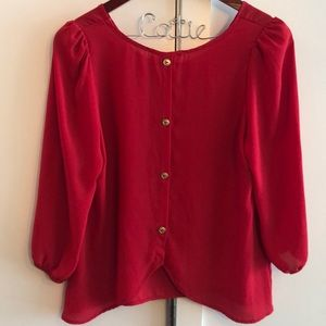 Gorgeous button back red blouse
